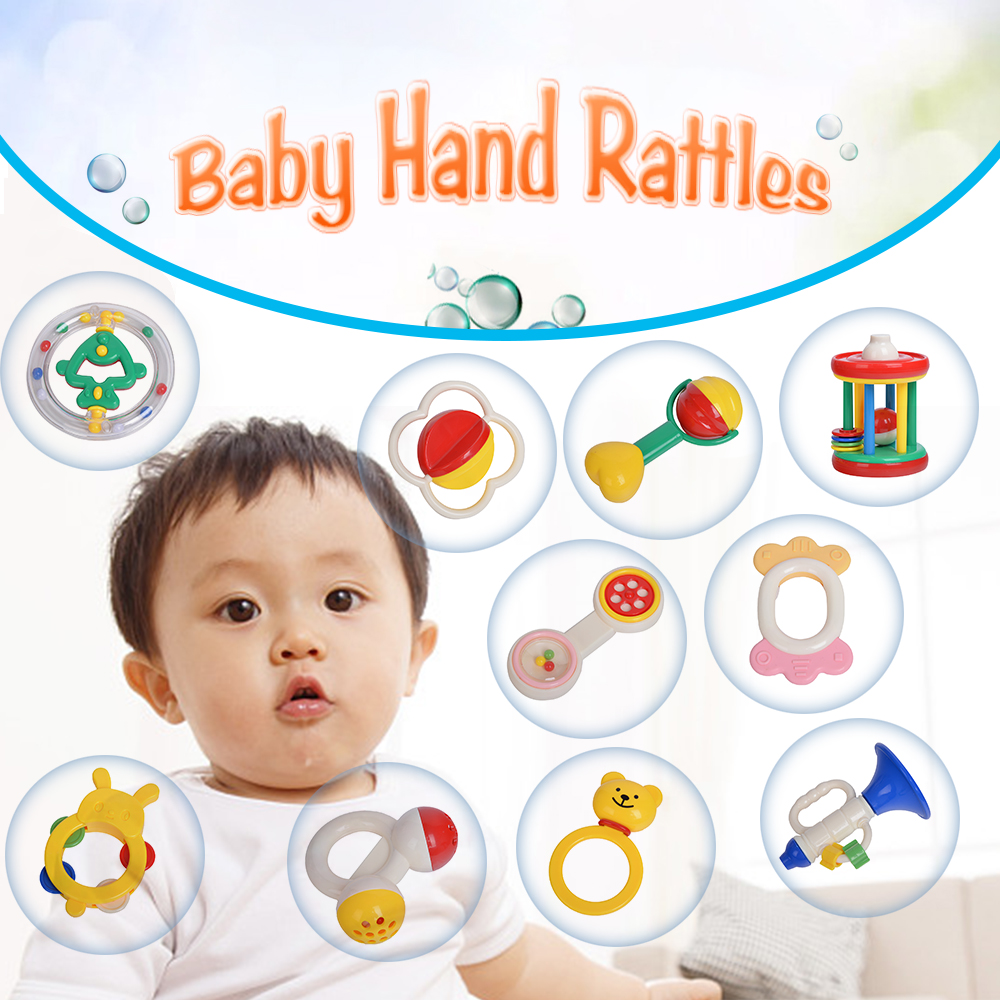 Baby Rattles & Mobiles Adroit 5pcs/10pcs Baby Hand Rattles Kit Teether Bed Bell Toys Kids Happy Buddy Newborns Gift baby Hand Rattles Set Bed Bell Toys Aromatic Flavor Baby & Toddler Toys