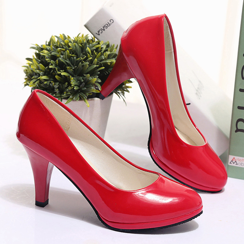 2017 New brand Round Toe platform pumps red Mary Janes high heels Patent Leather Party wedding shoes high quality big size 34-42 набор принадлежностей bosch v line 2607017314