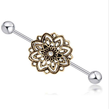 Hot Sale Stainless Steel Ear Bone Nail Piercing Vintage Flower Studs Earring Body Jewelry Ear Tunnel Barbell Lip Jewelry Gifts