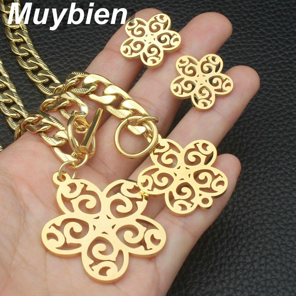 Nuevo diseño Acero inoxidable dorado Pulsera y collar Pendientes - Bisutería - foto 5