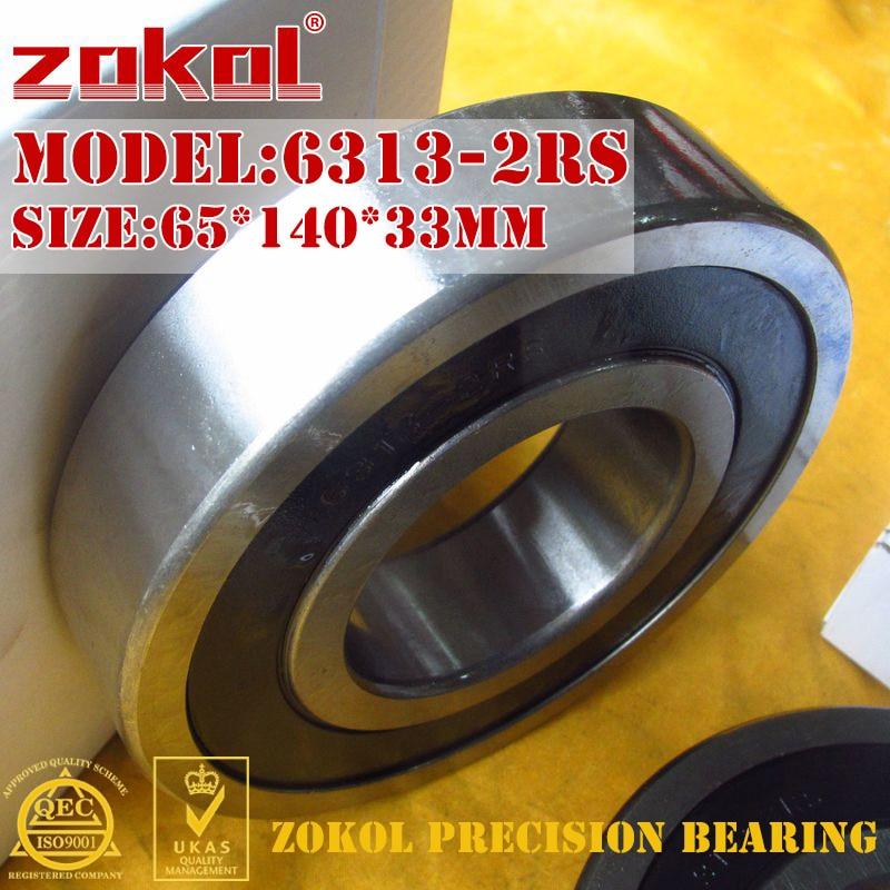 ZOKOL 6313-2RS bearing 6313 2RS 180313 Deep Groove ball bearing 65*140*33mm zokol 6411rs bearing 6411 2rs 180411 6411 2rs deep groove ball bearing 55 140 33mm