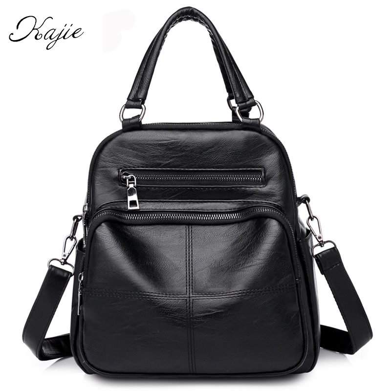 Kajie Black School Bag For Teenage Girls Pu Leather Backpack High Quality Laptop Back Pack Soft Women Shoulder Bag Mochila 1