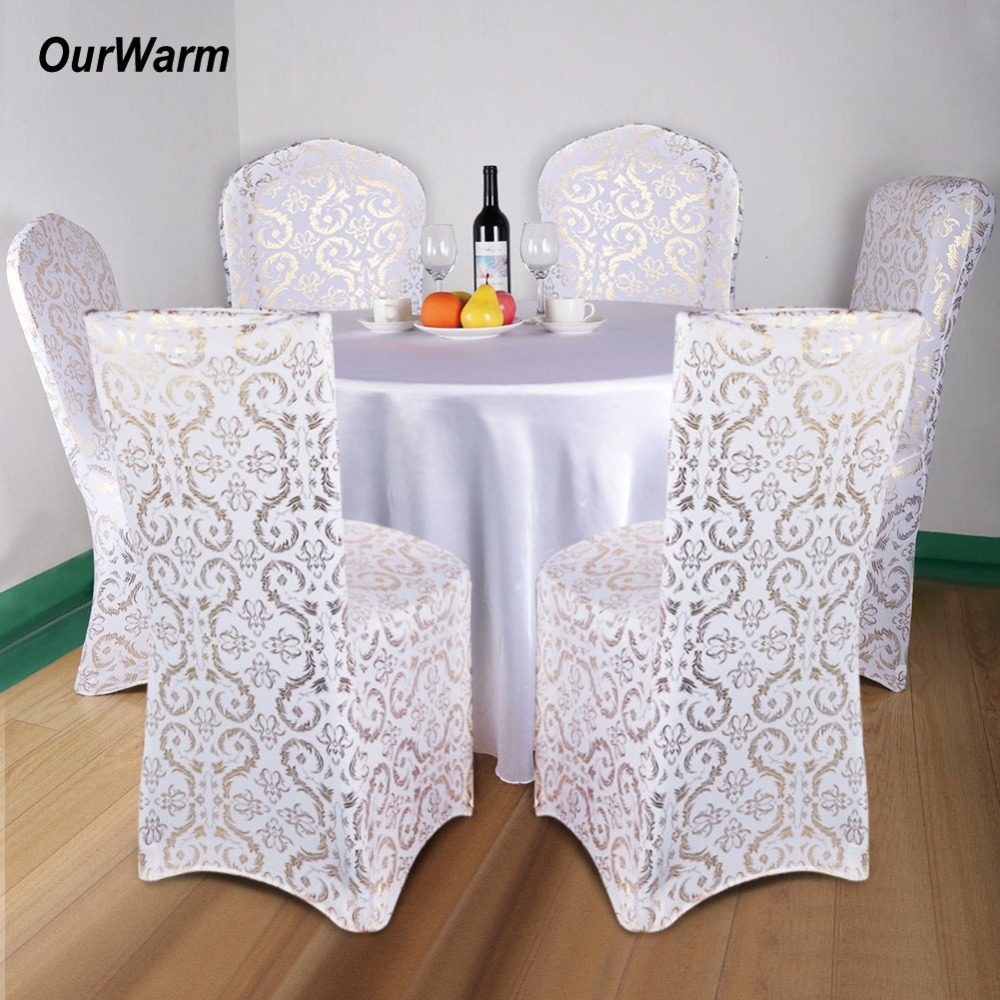 OurWarm 6Pcs Spandex Chair Covers Bronzing Stretch Elastic Dining Seat Cover for Banquet Wedding Hotel Christmas