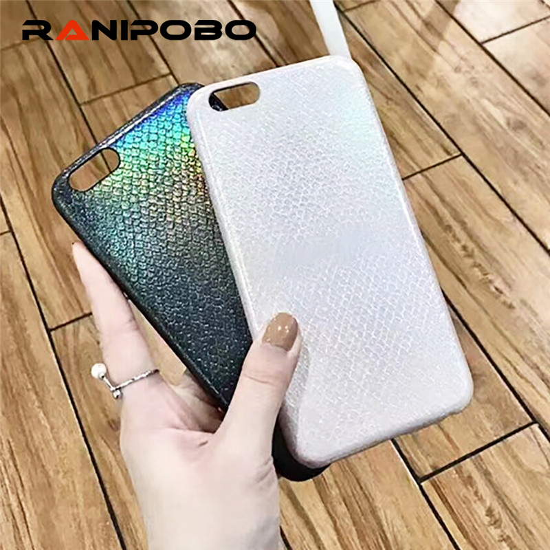 Luxury Bling Shining Snake Scales Soft Case For iPhone 7 6 6S Plus Phone Laser Colorful PU Leather Cover Back For iPhone 6 7 6S