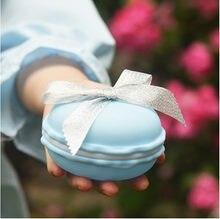 10 sztuk/partia kolorowy styl pudełko Macarons pudełka na cukierki upominki weselne Baby Shower Favros strona dekoracji 90mm x 40mm