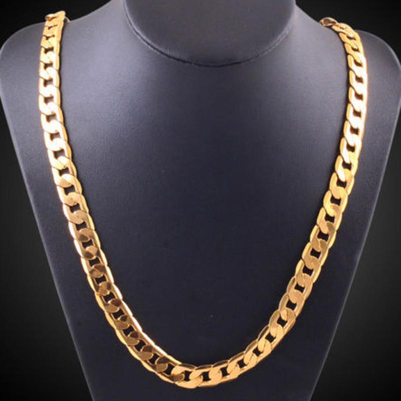 Otoky цепи Цепочки и ожерелья Хип-хоп мужские Снаряженная Кубинский цепи Gold Filled Ожерелья для мужчин ювелирных изделий ежедневно носить 61 см це...