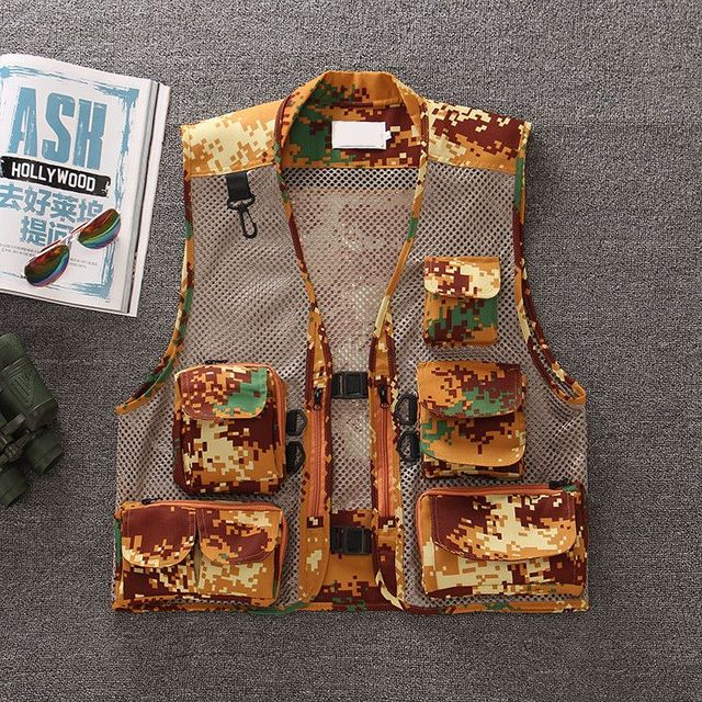 Free shipping 2017 Tactical Camouflage Mesh Vest Men Multi Pockets Camo Fish  Waistcoat Sleeveless Jacket 61101