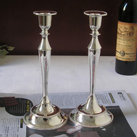 H25cm one pair Metal Cylinder silver plated Candle Holder stand candlestick for wedding decoration gift 2005a