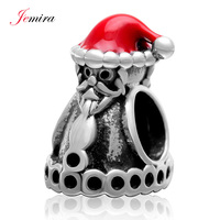 Santa Claus with Christmas Hat 925 Sterling Silver Charms Beads with Red Enamel fit Chamilia Style DIY Woman Bracelet Jewelry