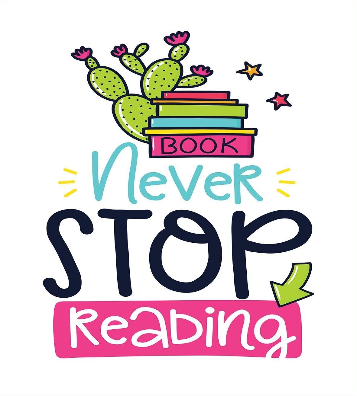 Постельное белье яркие Цвет кактус и звезды за книги с вдохновляющие принт никогда не останавливаться чтения, 4 шт. Постельное белье