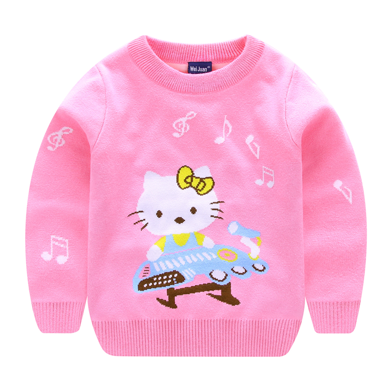 Sweaters For Girls With Cat Pattern Winter Children Pullover Knitted Girl Hello Kitty Sweater net pattern crew neck pullover sweater