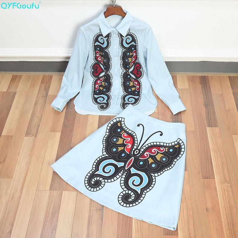 QYFCIOUFU 2018 Summer Designer Runway Two Piece Short Set For Women Long Sleeve Blouse + Butterfly Print Short Skirt Outfit