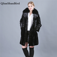 100% Real Natural Mink Fur Coats Jackets Genuine Fox Fur Outerwear For Women 2018 Bat Real Mink Fur Coat Women