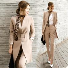 HIGH QUALITY Long section  Pant Suits Women Casual Office Business Suits Formal Work Wear Sets Uniform Styles Elegant Pant Suits