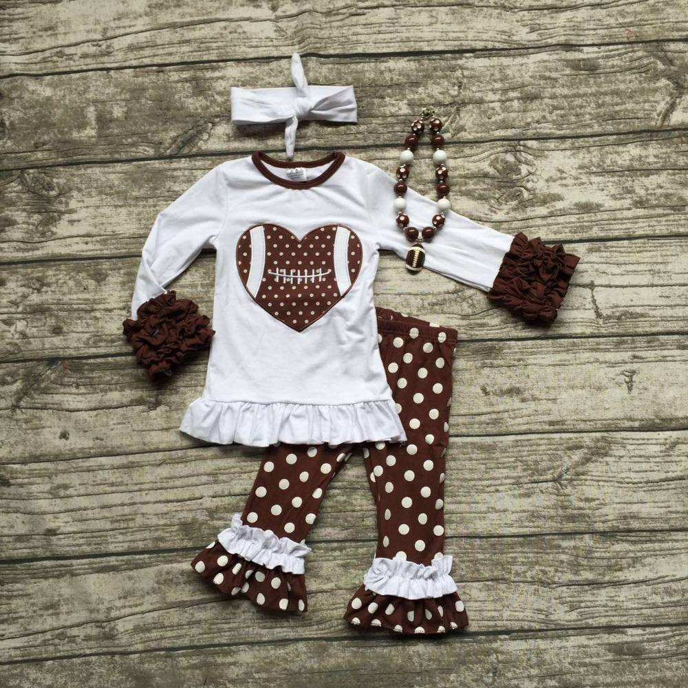 2016 Football clothes Fall suit baby girls brown boutique pants polka dot long sleeves heart with