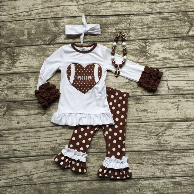 2016 Football clothes Fall suit baby girls brown boutique pants polka dot long sleeves heart with matching bow and necklace set