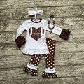 2016 de Futebol roupas Outono terno meninas do bebê boutique marrom calças polka dot mangas compridas coração com curva de harmonização e colar conjunto