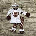 2016 ropa de Otoño traje de los bebés de Fútbol marrón con encanto pantalones polka dot manga larga corazón con un arco a juego y collar conjunto