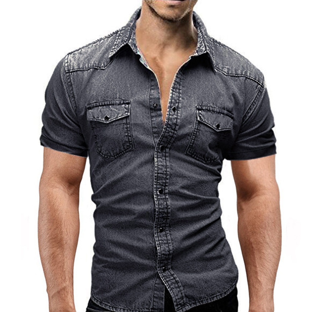 denim shirt men Casual Slim Fit Button Shirt With Pocket blouse men camisa social Short Sleeve Tops Blouse playeras de hombre(China)