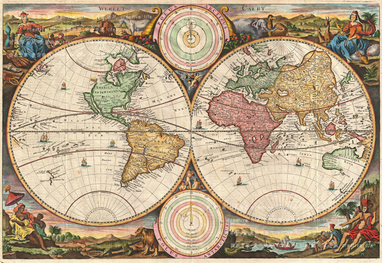 1730 WORLD MAP, Vintage Canvas Frameless Map for Home/Bar/office Decoration, Wall Hanging Decorative Paintings