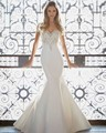 2017 New Design Sweetheart Short Sleeve Off the Shoulder Sparkly Beaded Sequined Mermaid White Satin Wedding Dresse Slim Elegant
