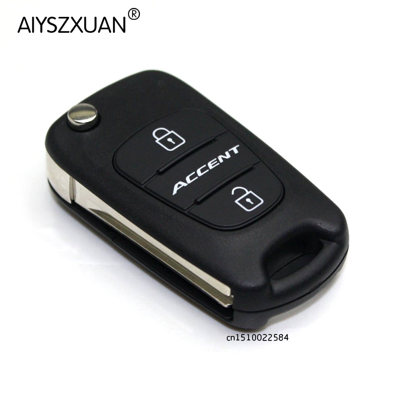 New Flip Folding Remote Key Shell Case 3 Buttons Fit for Hyundai Accent Keyless Entry Fob Cover Car Alarm Housing with LOGO