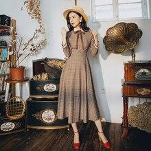 Новые модные женские платья осень и зима литературное ретро элегантное клетчатое платье с длинным рукавом
