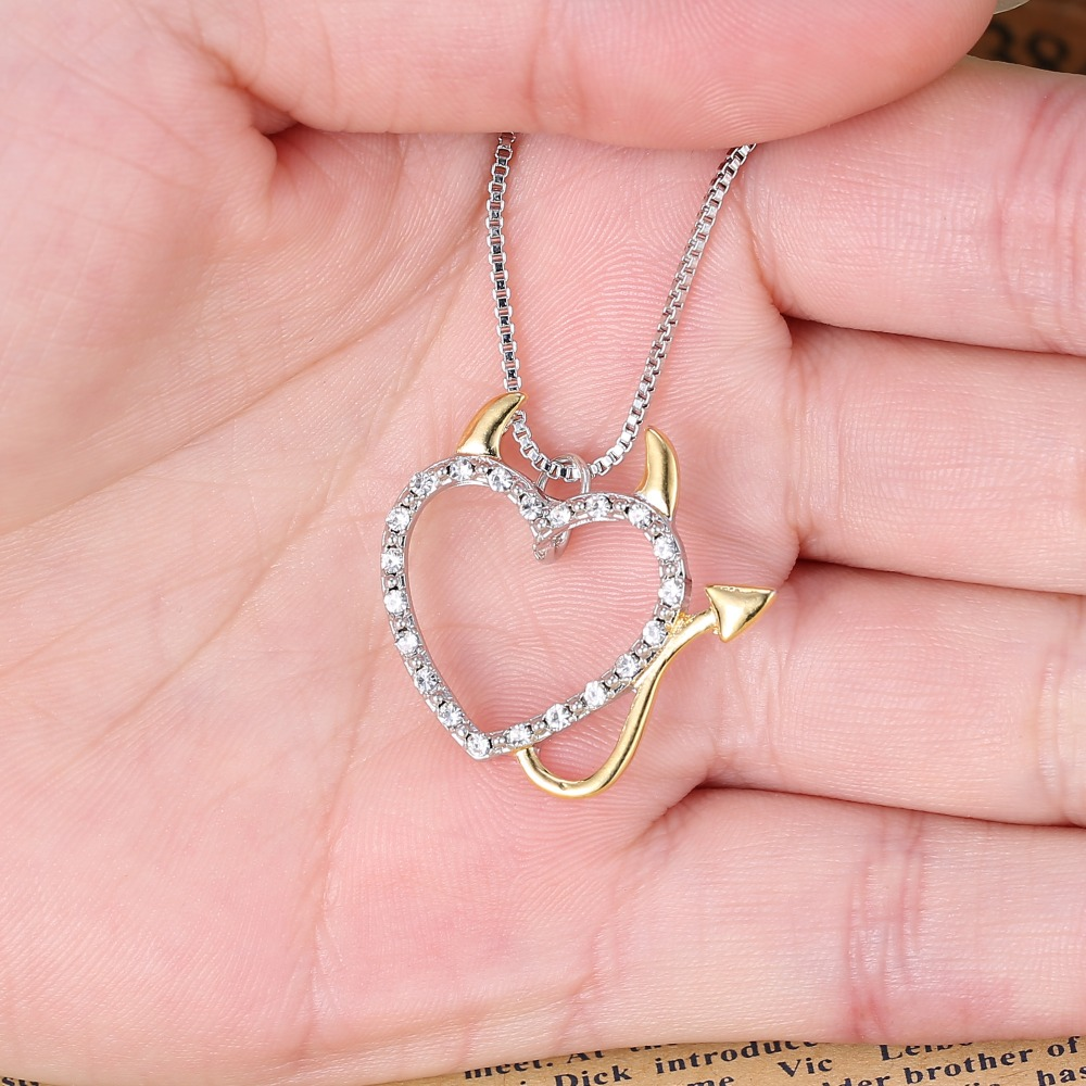 Lovely Crystal Love Devil Heart Necklace For Women Pendant Silve Chain Necklace Family Jewelry Gift Cat Necklace