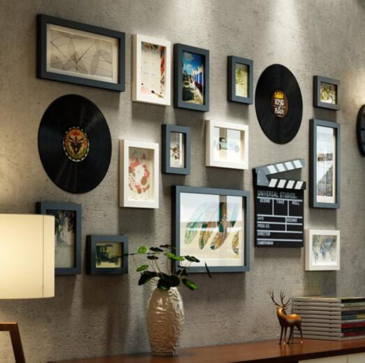 Da Parete europea Ornamenti Ciondolo soggiorno Attaccatura di Parete pittura creativa disco in vinile ornamenti di testa di cervo autoadesivi della parete in set - 3