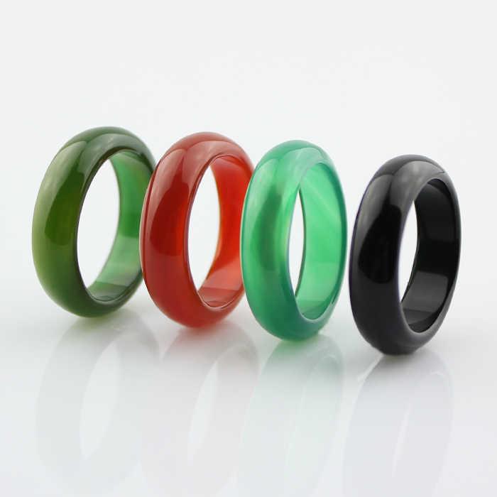 คริสตัลธรรมชาติ chalcedony สีเหลืองสีแดงสีดำสีขาวสีเขียวแหวนคู่แหวนผู้ชายผู้หญิงเครื่องประดับ lucky หินหยกแหวน