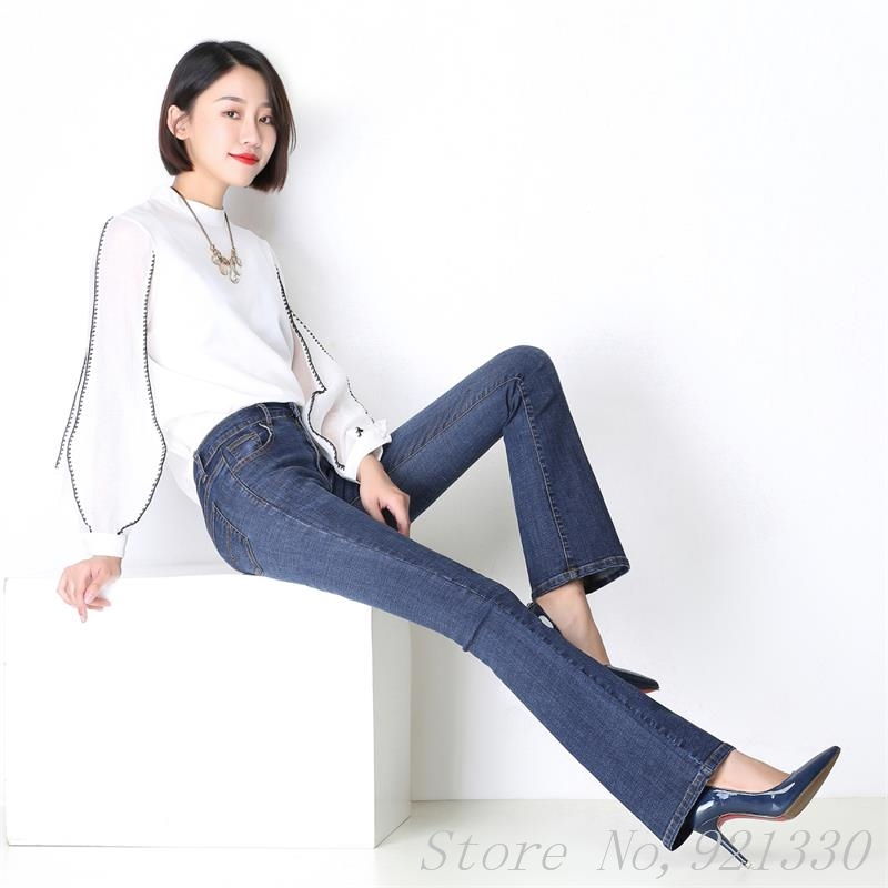 Mid Bottom Waist Pants Women's Boot Cut Grg Fashion Trousers High 360 Promotion Bell Slim Flares 2017 Shipping Free Blue Quality Jeans xq8F1w