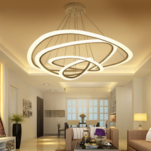 New Modern pendant lights for living room dining room 4/3/2/1 Circle Rings acrylic   LED Lighting ceiling Lamp fixtures modern pendant lights for living room dining room circle rings 3 rings 4 rings acrylic aluminum body led ceiling lamp fixtures