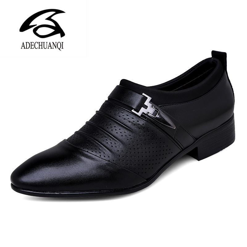 Summer Autumn Pointed Toe Mens Dress Shoes Breathable Black Wedding Shoes Formal Suit Office Shoes Man Leather Shoe