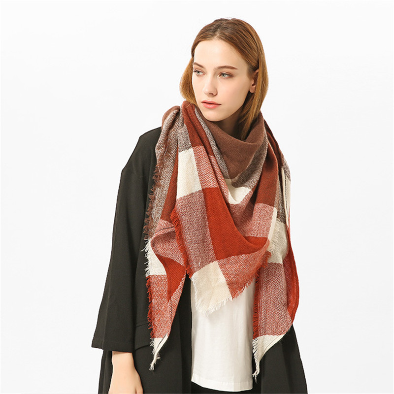 2019 Winter Warm Warp Scarf Plaid Triangle Pashmina Shawl Cashmere foulard femme Fashion Tassel Thick Square Scarves For Women in Women 39 s Scarves from Apparel Accessories