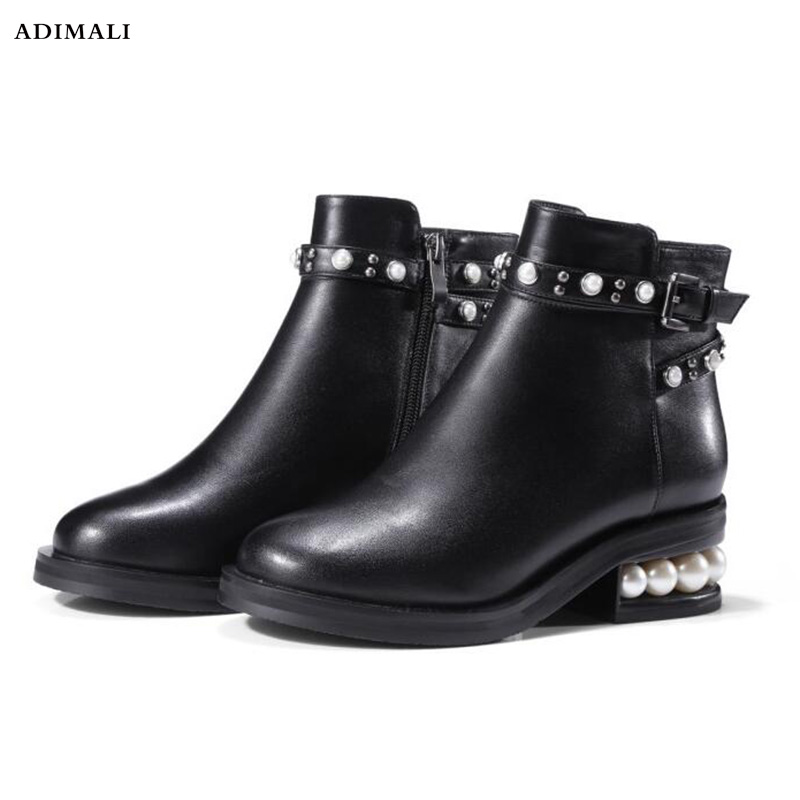 boots Women Shoes 2018 Autumn Winter Leather Women Boots With Pearls High Heel Ankle Boots for Women Fashion Round Toe xiangban women leather boots round toe handmade women ankle boots comfortable thick heel autumn shoes