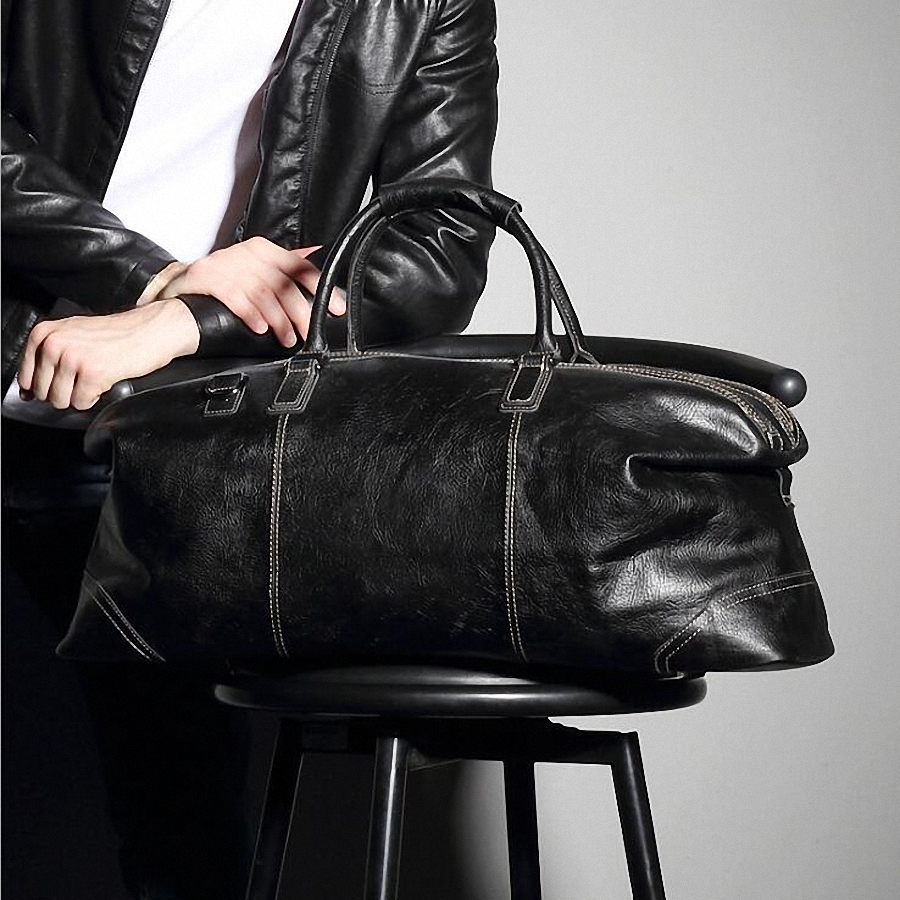Fashion Genuine Leather Travel Bag Men's Leather Luggage Travel Bag Duffle Bag Large Tote Weekend Overnight Bag LI 1926 - 3
