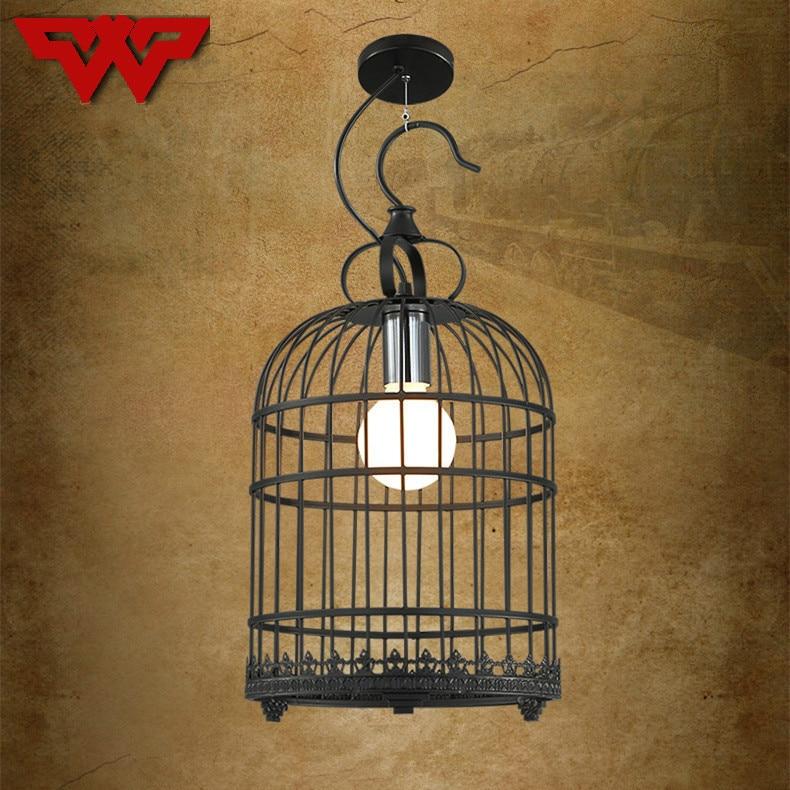 American country wrought iron bird cage lamp bar creative personality bar decoration retro chandelier industrial cafe lights недорго, оригинальная цена