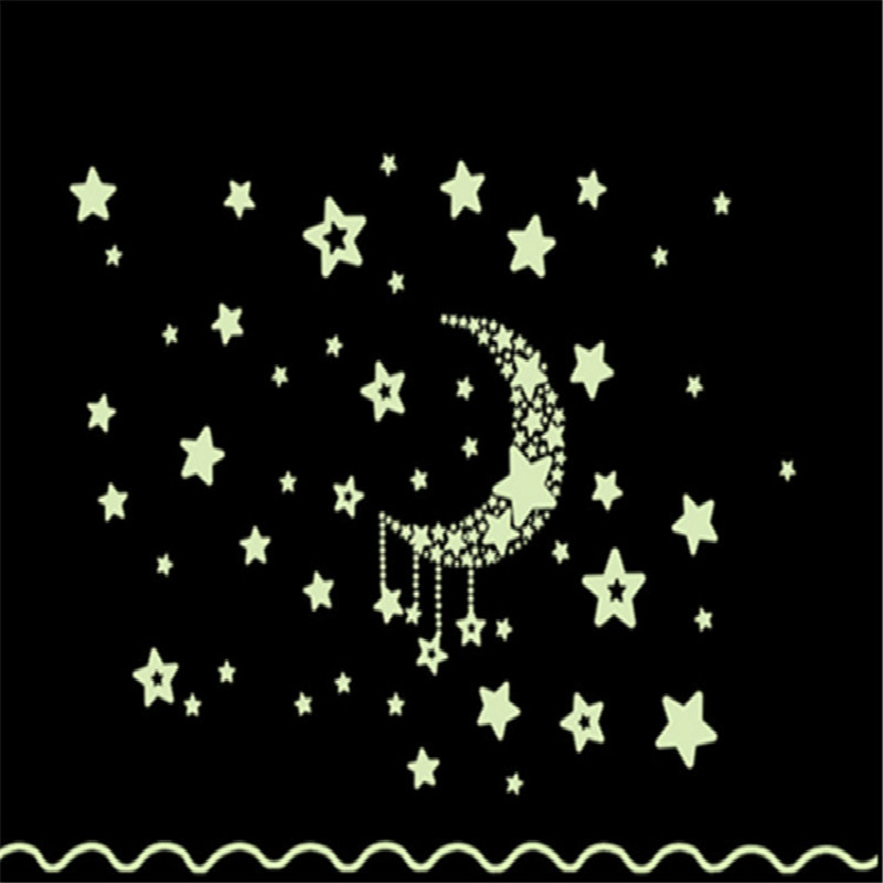 Removable Night Light Luminous Stickers Home Decor home Wall Sticker for Kids Rooms Wall Decals Bedroom Moon And Stars Wallpaper