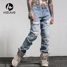 2017 print  jeansAmerican Style fashion brand cotton men jeans Men's casual denim trousers hole zipper Slim blue jeans for men