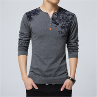 M 5xl Big Size Men Cotton Vintage Henry T Shirts Casual Long Sleeve High Quality Men