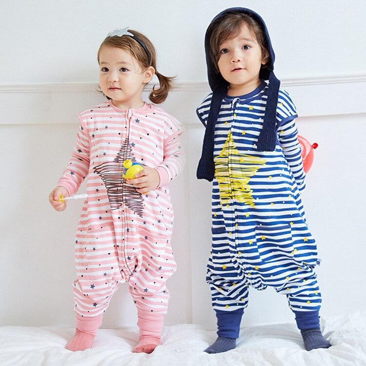 Conception originale vêtement pour enfants pur coton sans manches partie jambe sac enfants hommes et bébé défense coup de pied dormir