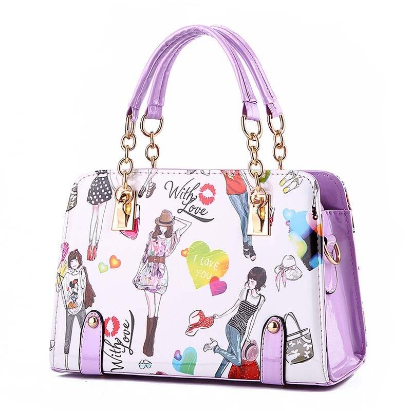 Fashion Girl Printing Handbag Ladies PU leather Designer Tote 2019 Women's Candy Color Pink Shoulder Bags Medium Crossbody Bags