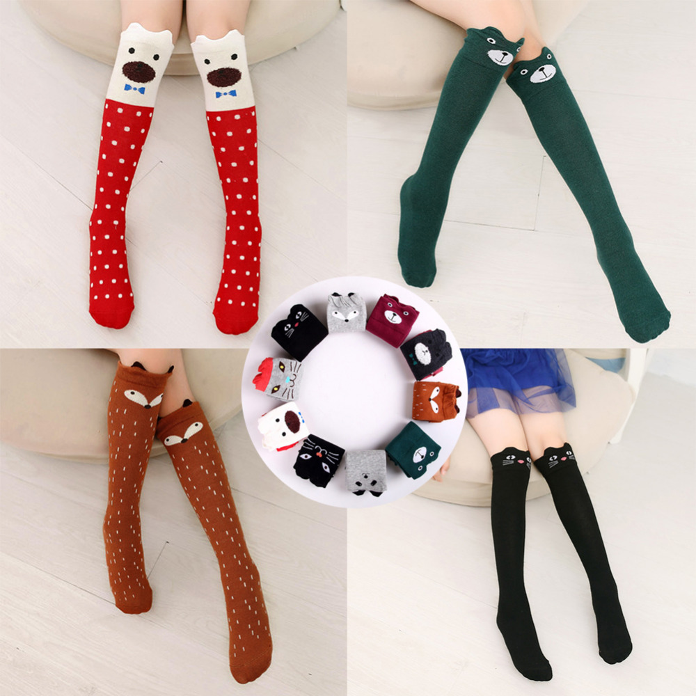 Cartoon Cute Children Stockings Print Animal Cotton Kids Girls Knee High Long Fox Stockings Toddler Socks Baby Tights Stockings cute baby kids girls cotton fox tights носки штаны штаны чулочно носочные изделия колготки