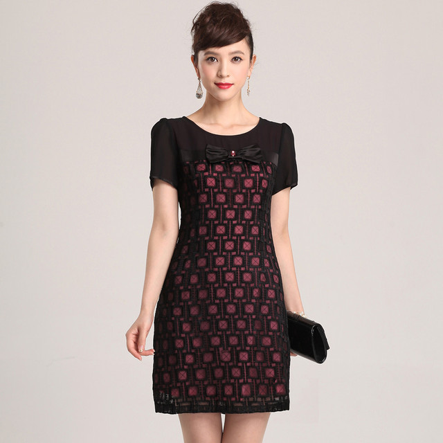 new fashion High quality 2013 hollow out plaid slim plus size  women's casual dress