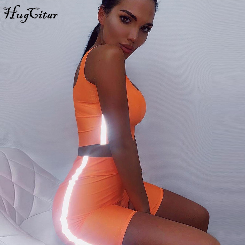 Hugcitar Spaghetti Straps Reflective Patchwork Shorts 2 Pieces Set 2019 Summer Women Fashion Neon Green Solid Casual Sets