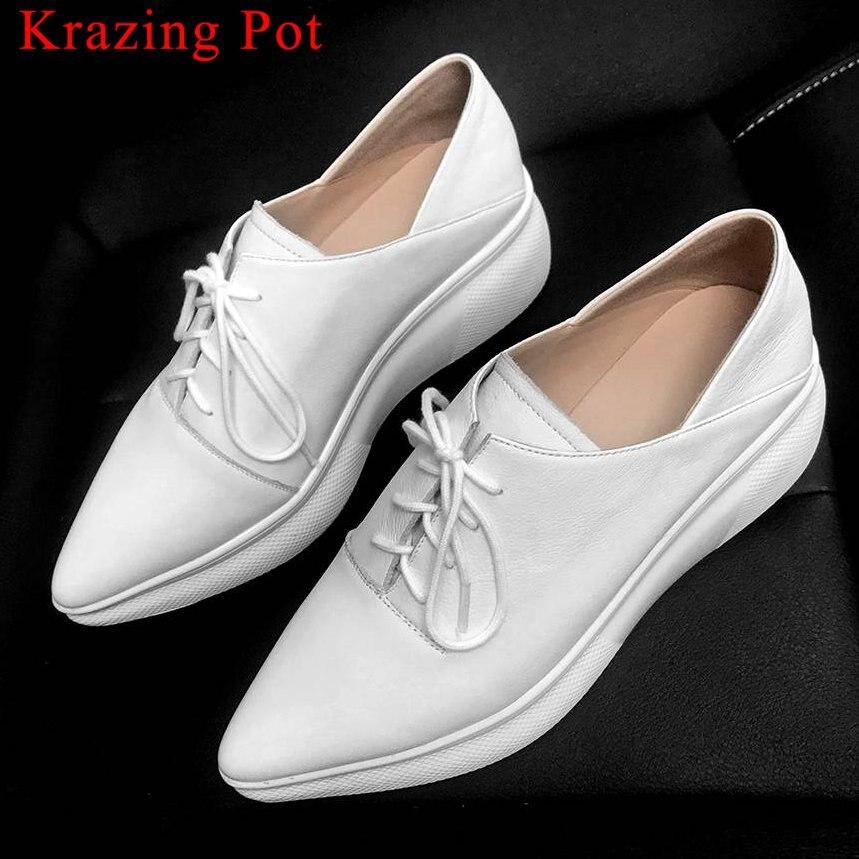 Krazing وعاء أسود أبيض موجزة نمط رياضة وأشار اصبع القدم الدانتيل يصل حذاء سميكة أسفل الجلد الطبيعي أحذية مفلكنة L0f5-في أحذية مطاطية نسائية من أحذية على  مجموعة 1