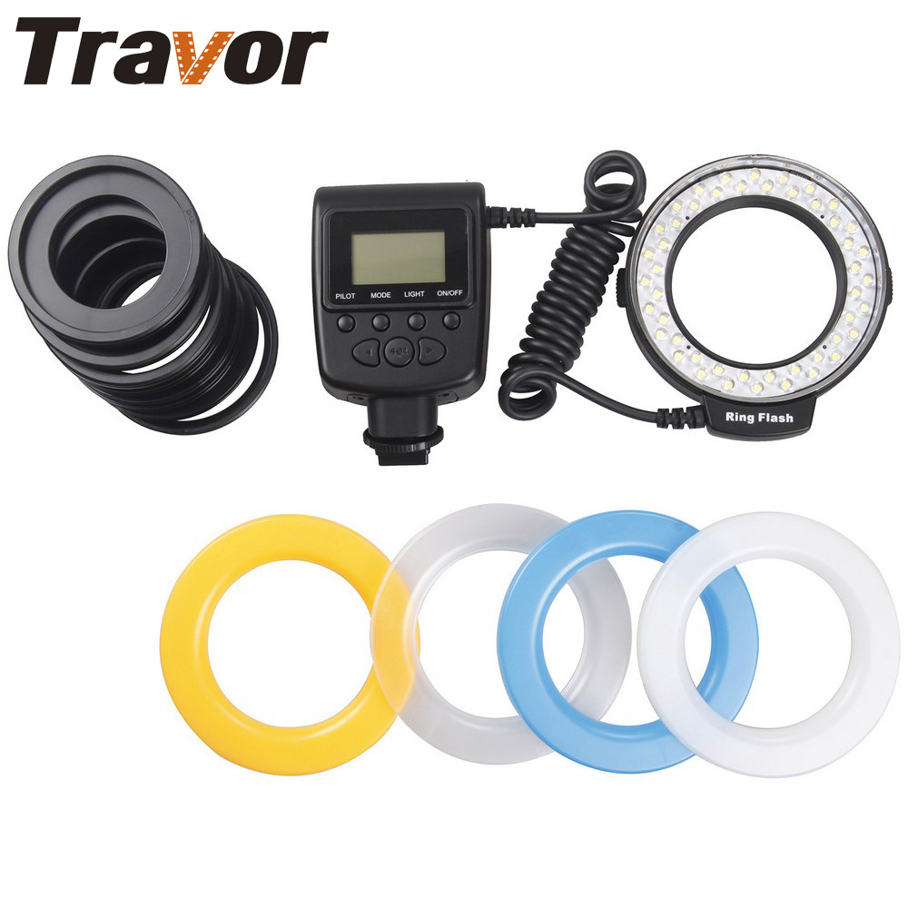 Travor Macro LED Ring Flash 48st RF-550E till Sony Old Minolta hetsko För Sony A500 A200 A850 A77 A65 Kamera
