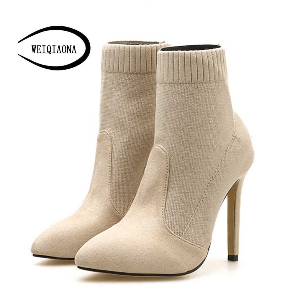 WEIQIAONA <font><b>2018</b></font> New <font><b>Sexy</b></font> Women Shoes Stretch Fabric Knitting Pointed Toe High Heel Short Boot <font><b>Stars</b></font> Model Shoes <font><b>Ladies</b></font> Shoes image