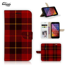 "PU Leather Phone Bag Case For ASUS Zenfone 2 ZE550ML ZE551ML 5.5"" Wallet Flip Case Cover With Credit Card Slots Tartan Pattern"