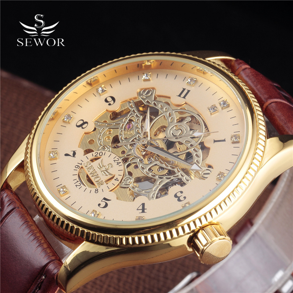 SEWOR Big Dial Diamond Design Black Gold Watch Montre Homme Mens Watches Top Brand Luxury Relogio Male Skeleton Mechanical Watch sewor golden watches men skeleton mechanical watch stainless steel top brands luxury man watch montre homme big dial wristwatch